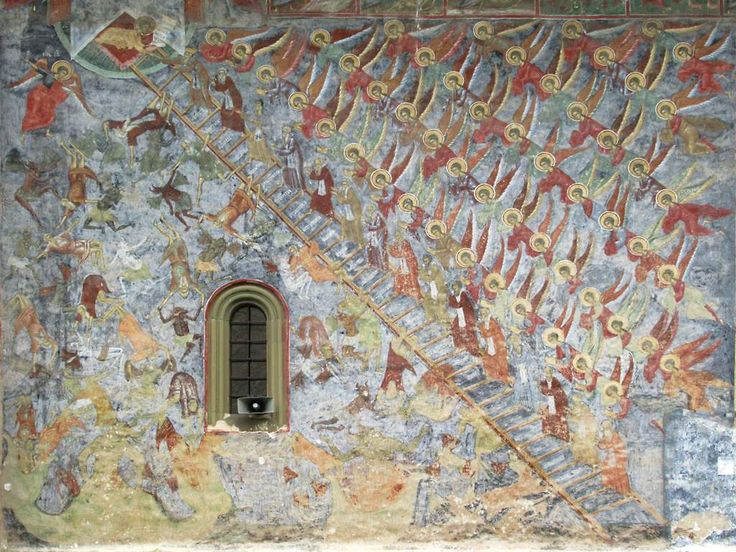 A fresco of the Virtuous Ladder appears on the north wall of Sucevita Monastery in Bukovina, Romania. The ladder has 30 steps from hell to paradise, one for each year of Christ's life.