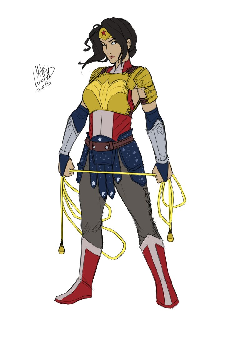 supernormalstep:  did this RIGHT after my superheroine redesign project last year, but never posted it because I was flooded with response to them and it was overwhelming me.  This was my idea of how I would redesign wonder woman without any theme attached.   I still really like it.  Changed her lasso to a meteor hammer, for reasons of being super cool.