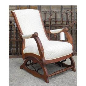 Beautiful antique rocking and reclining Victorian era chair. #materialsunlimited