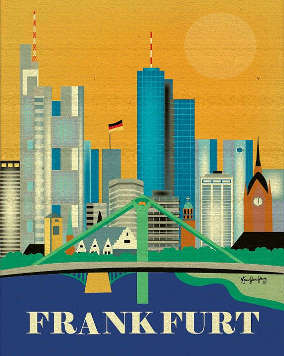 D Printing Exhibition Frankfurt : Frankfurt print skyline art germany vertical german travel gift