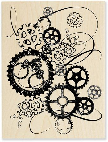 Clock Works (Steampunk) - Wood Mounted Rubber Stamp