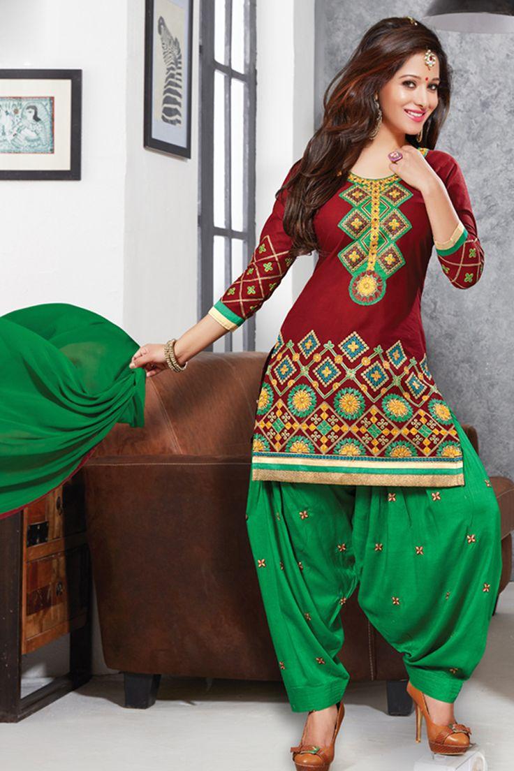 Designer functional wear maroon cotton punjabi style patiyala dress with embroidary work...