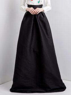 Black Cotton-blend Pockets Evening Plain Maxi Skirt