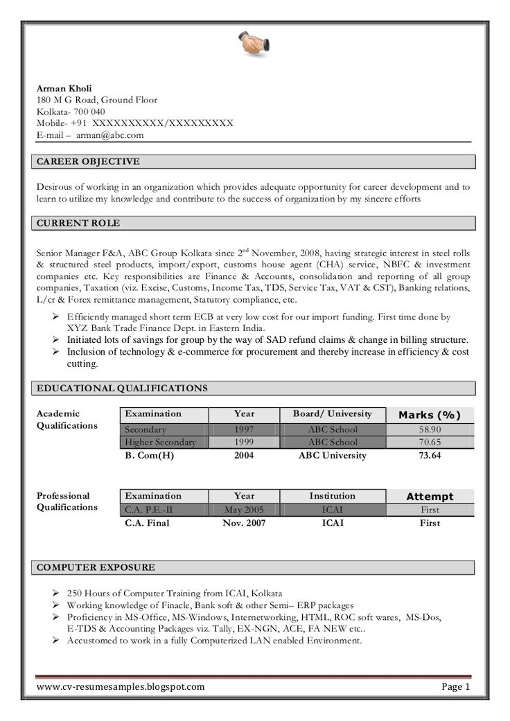 Find free resume download Kolkata in 2020 Accountant