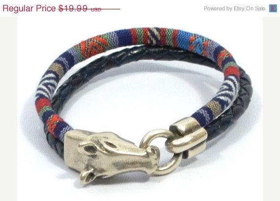 horse bracelet * horse jewelry * western jewelry * equestrian bracelet * ethnic fabric bracelet * men woven bracelet * men leather bracelet by CozyDetailz on Etsy https://www.etsy.com/listing/238411044/horse-bracelet-horse-jewelry-western