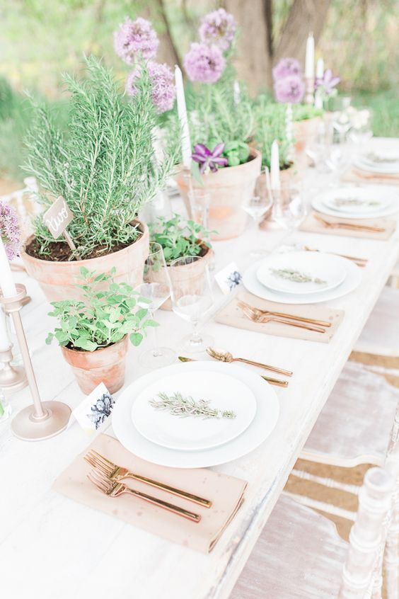 Herb wedding centerpieces / http://www.himisspuff.com/potted-plants-wedding-decor-ideas/5/