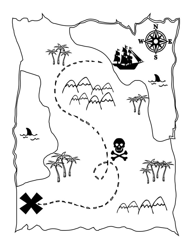 Let your child's imagination run wild with this free printable pirate's treasure map coloring page.