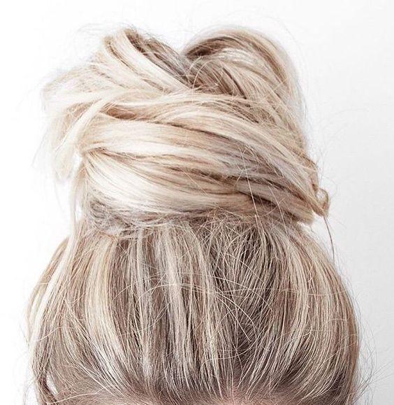 big messy bun | women long hair style | blonde | bleached