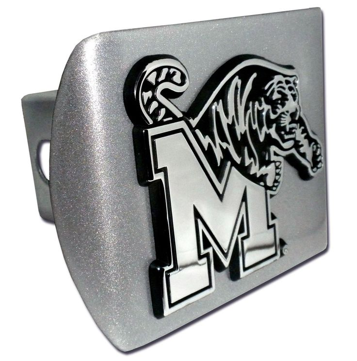 Memphis Tigers Brushed Chrome Metal Hitch Cover
