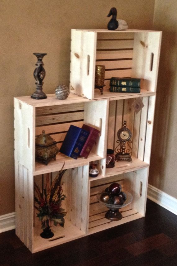 """Set of Five Extra Large Wood Crates - 24""""L x 18""""W x 11 1/2""""D each - Bookcase - Bookshelf - Stacking Crate - Decorative Crate - Apple Crate"""