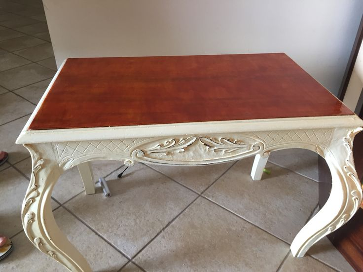 This was a dark brown table  I painted with homemade chalk paint  The top was grey marble  I painted with dark brown varnish
