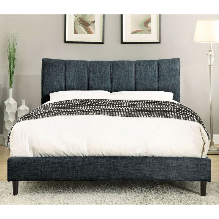 Furniture of America Mistelle Contemporary Linen-like Fabric King-size Platform Bed (Dark Blue - Cal King), Size California King