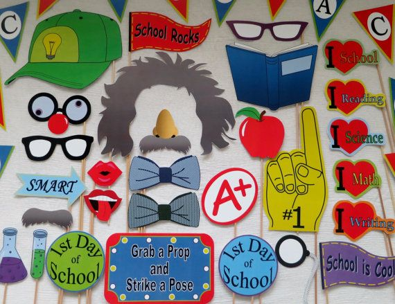 Back to School / 1st Day of School Photo Booth Props