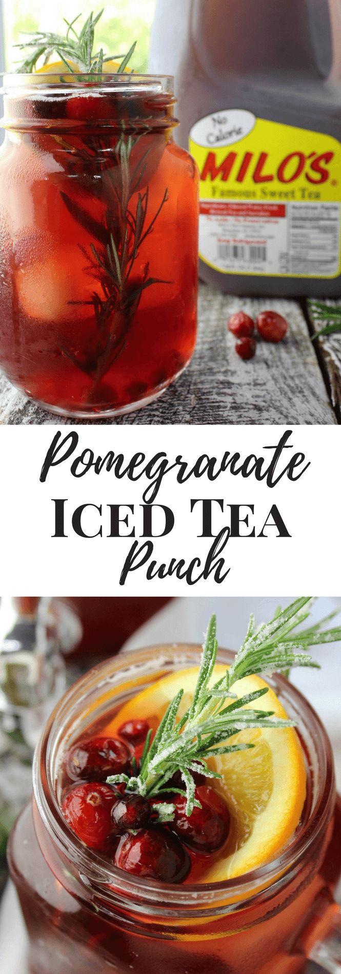 Pomegranate Iced Tea Punch made with Milo's Tea. #PassTheMilos #Pmedia #ad