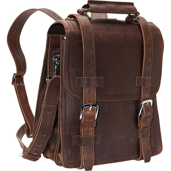 "Vagabond 14"" Leather Travel Backpack Brief - Vintage Distress -... (€285) ❤ liked on Polyvore featuring bags, backpacks, accessories, brown, leather backpack, backpack travel bag, backpack bags, brown leather bag and brown bag"