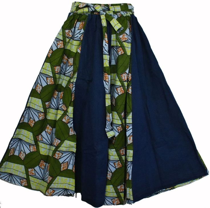Dashiki Long Denim Wax Skirts High Waist Skater Maxi Jeans Ankara P10 Army Green #Handmade #ALine