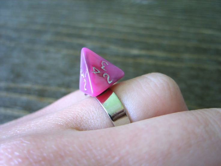 Miniature D4 dice ring adjustable ring dungeons and dragons dice jewelry pathfinder die pink purple black ring die polyhedral dice ring by MageStudio on Etsy