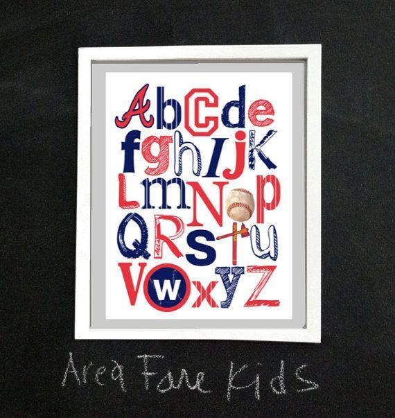 8 x 10 ATLANTA BRAVES baseball ABC Nursery Art by AreaFareKids, $15.00