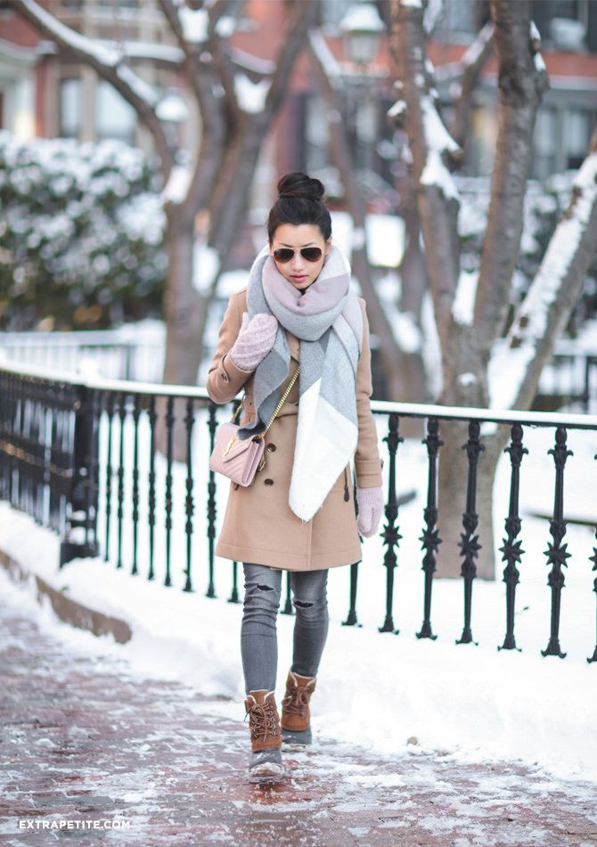 new england winter outfit // camel coat + plaid blanket scarf + snow duck boots + gray jeans