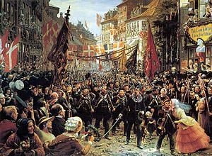 The First Schleswig War (German: Schleswig-Holsteinischer Krieg) or Three Years' War (Danish: Treårskrigen) was the first round of military conflict in southern Denmark and northern Germany rooted in the Schleswig-Holstein Question, contesting the issue of who should control the Duchies of Schleswig and Holstein. The war, which lasted from 1848–1851, also involved troops from Prussia and Sweden. Ultimately, the war resulted in a Danish victory. A second conflict, the 2nd Schleswig War, 1864.