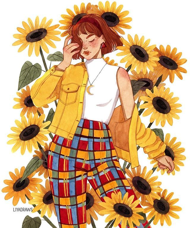 Haven't done sunflowers in a while 🌻🌻🌻☀️☀️☀️ Inspired by @liberty.mai 💛 #watercolor #draw #drawing #ootd #outfit #ootw #sketch #sketching…