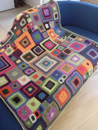 Great modern crochet inspiration made from varied sizes granny squares