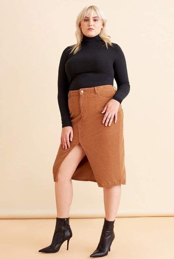 Warp + Weft Midi Skirt in Brown Size 16