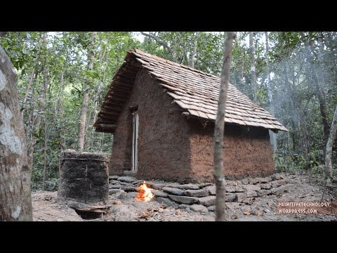 Building a tiled roof hut - YouTube