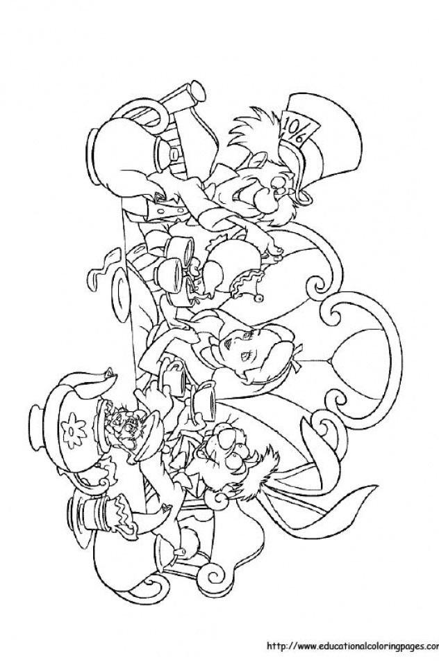 Alice in Wonderland Educational Fun Kids Coloring Pages