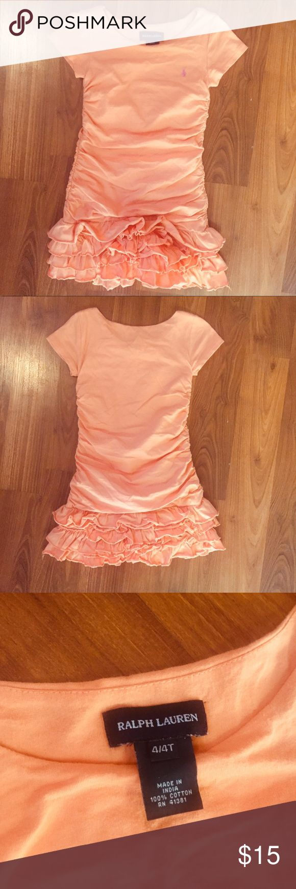 Ralph Lauren toddler dress Adorable coral toddler girl dress. It has gathered sides, a ruffle skirt, and a purple Polo logo. 100% soft jersey cotton. Excellent condition! Ralph Lauren Dresses Casual