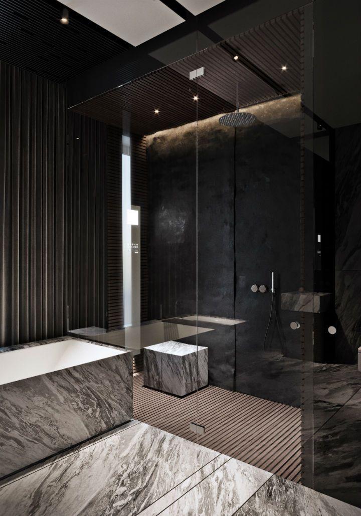 Straightforward Interior Design Twenty First Century Style Badezimmer Einrichtung Modernes Badezimmerdesign Badezimmer Schwarz