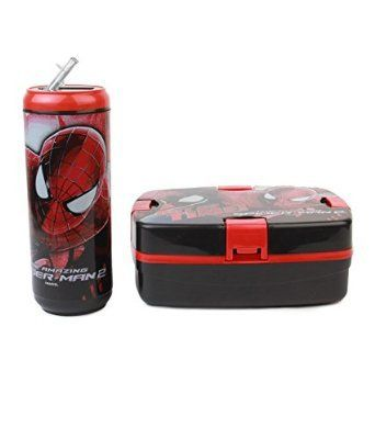 Cello Spiderman Combo Plastic Lunch Box Set 2-Pieces Black/Red @ Rs.372