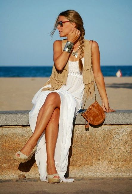 Stunning White Dress for Spring Fashion with Mango Heels and White Vests. Love this!!!