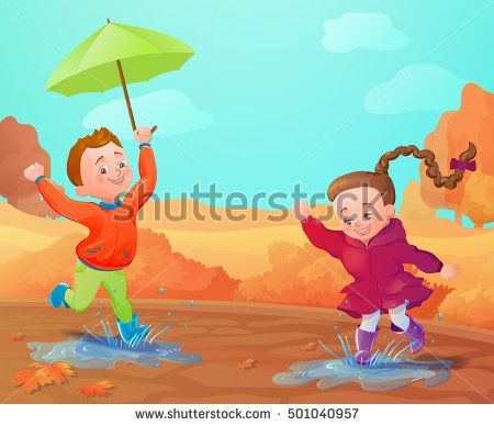 Autumn background with funny smiling kids. Cartoon characters in autumn outfit. Vector illustration