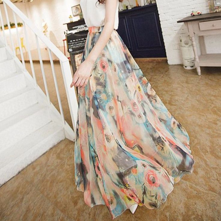 Bohemian Floral Chiffon Pleated Women Maxi Skirt