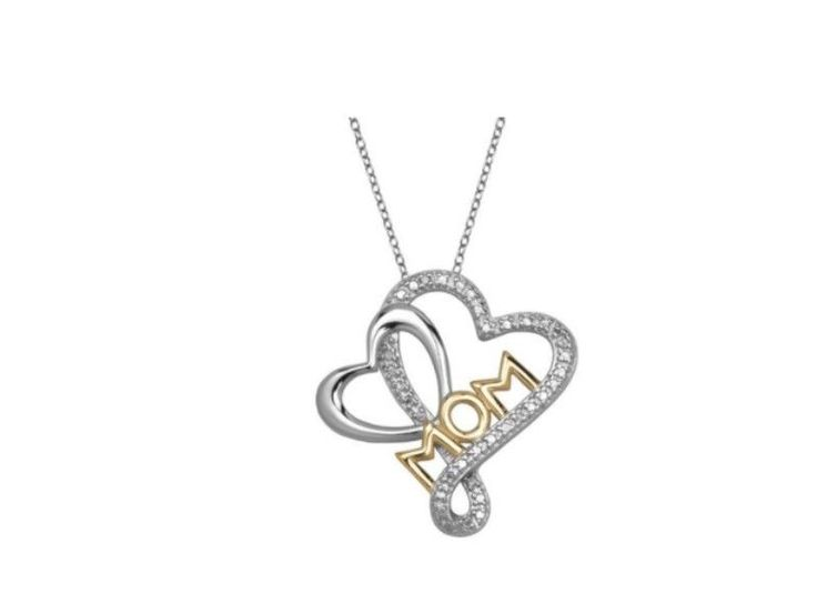 Sterling Silver Two-Toned Double Heart 'MOM' Pendant with Diamond Accent | eBay