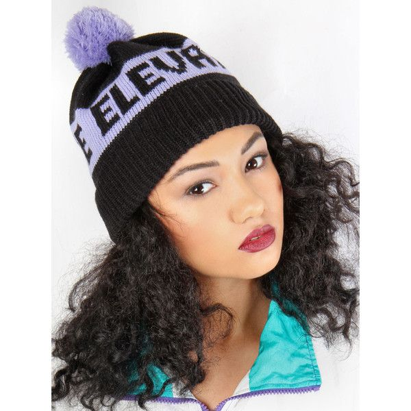 Black Lilac Bobble Beanie (£15) ❤ liked on Polyvore featuring accessories, hats, beanie, jade, jade thirlwall, black hat, beanie hats, black beanie, embroidered beanie hats and embroidery hats