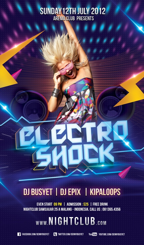 Electro Shock Nightclub Psd Flyer Template Download .PSD Editable File Here : http://graphicriver.net/item/electro-shock-flyer-template/2612988?ref=kwangsoo