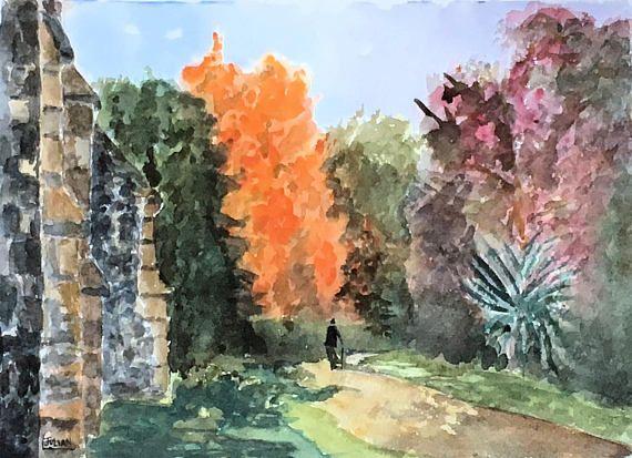 A walk through the woods in Autumn  An original watercolour