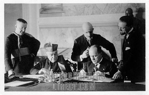 Mussolini signing the Lateran Treaty , 1929 . 40th Prime Minister of Italy and leader of National Fascist Party : 29 July 1883 – 28 April 1945 . Caption on back reads : The signing of Benito Mussolini . The signing of the treaty of conciliation between the Holy See and the Italian Government . The Lateran Pacts signed by Mussolini on 11 February 1929, had three parts: a political treaty (giving the Vatican its own micro-state), a financial convention (giving the Vatican reparations) and a…