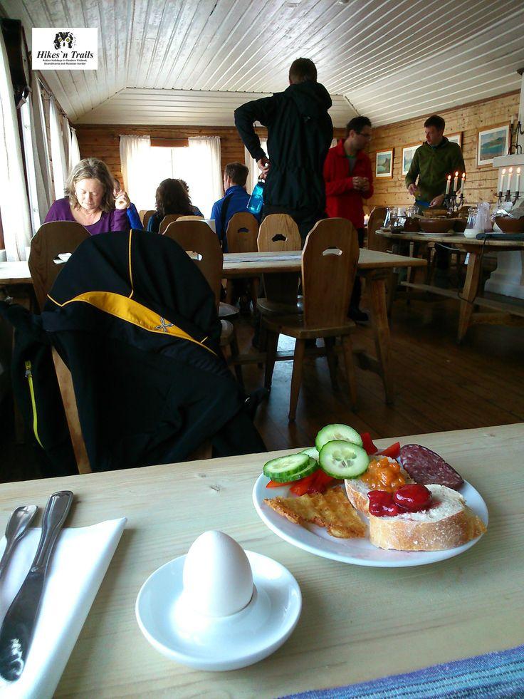 Breakfast at Saltoluokta Mountain Station.