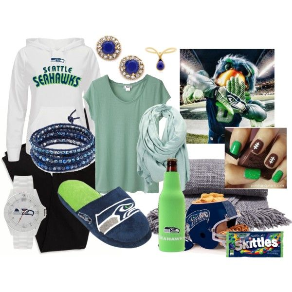 """Getting Ready and Comfortable for the Seahawk's Playoffs"" by cindiawb on Polyvore"