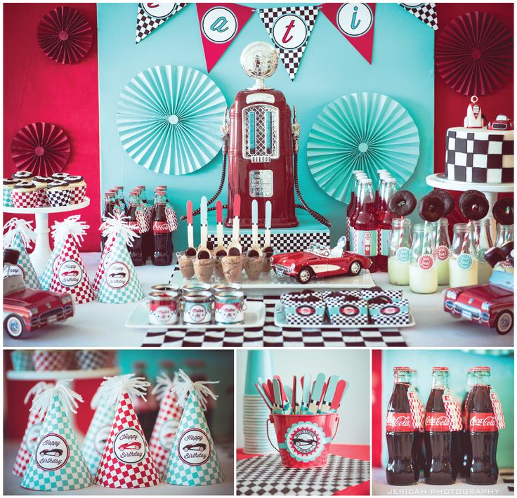 Vintage Car Theme. Fill'er up gas station party https://www.facebook.com/PrettyPaperParties  photos by Jericah Photography https://www.facebook.com/pages/Jericah-Photography/155018284513554?ref=br_tf