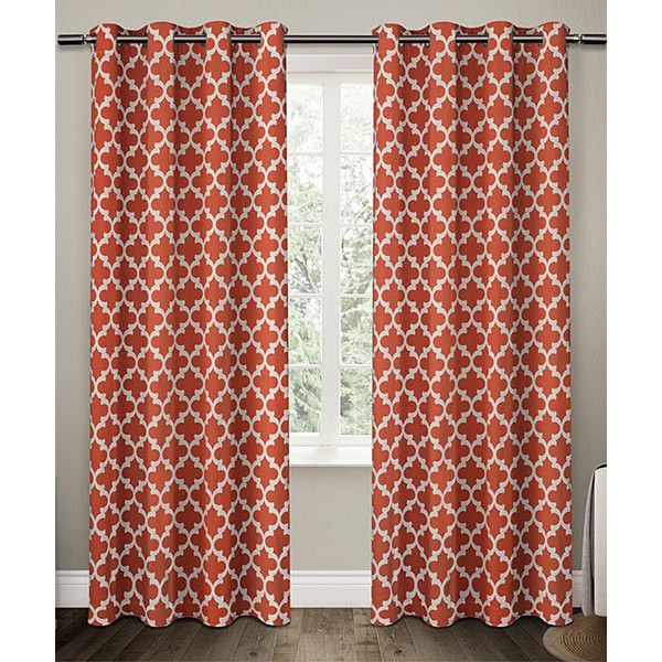 Exclusive Home Orange Neptune Curtain Panel featuring polyvore, home, home decor, window treatments, curtains, orange curtains, orange patterned curtains, orange grommet curtains, patterned curtain panels and lining curtains