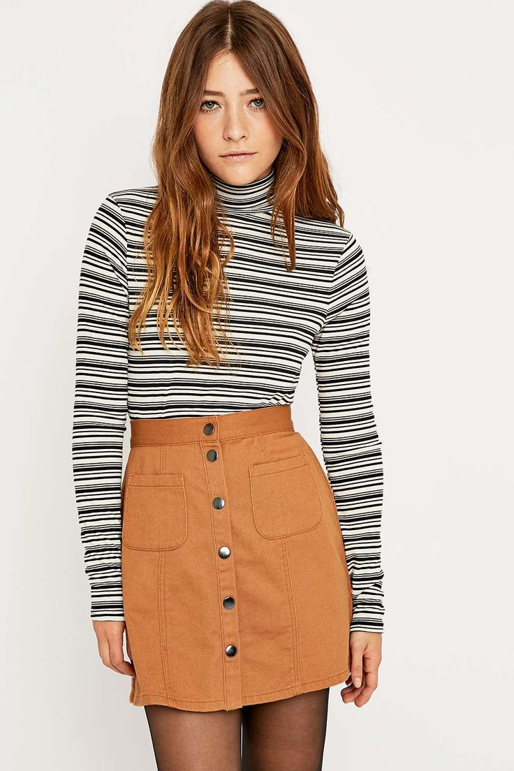 Urban Outfitters Ribbed Striped Turtleneck Top - Urban Outfitters
