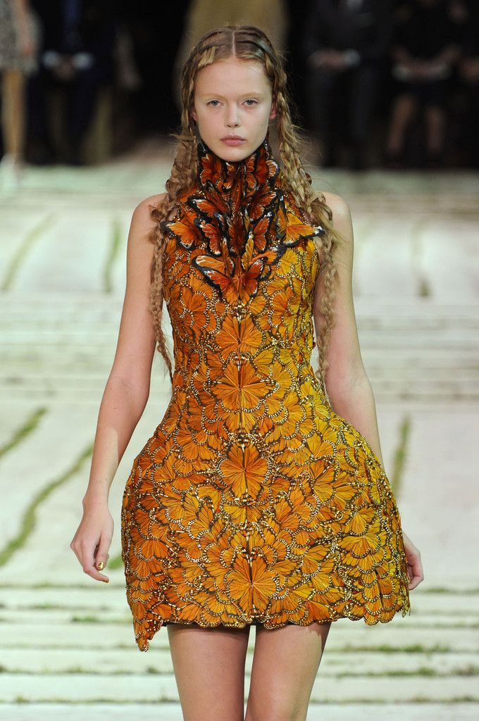 Alexander McQueen butterfly dress. Which is something Effie will most likely sport in Catching Fire.