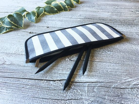 Gray and white stripes flat pouch with zip, pencil case handmade in cotton, pouch for cosmetic and toiletry storage, striped clutch