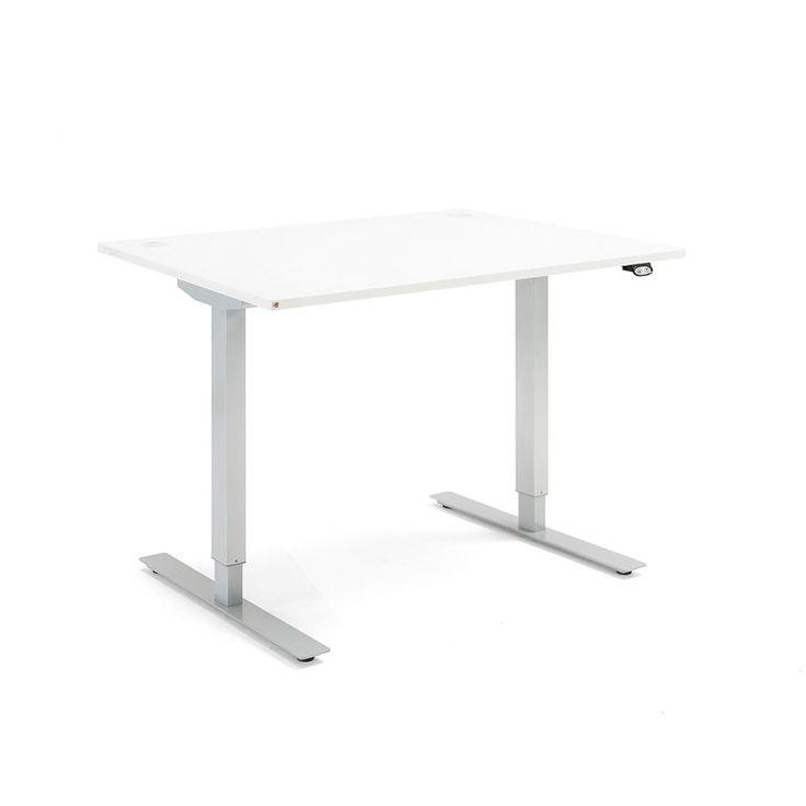 Flexus proste biurko, elektryczny, 1200x800 mm, biały laminat