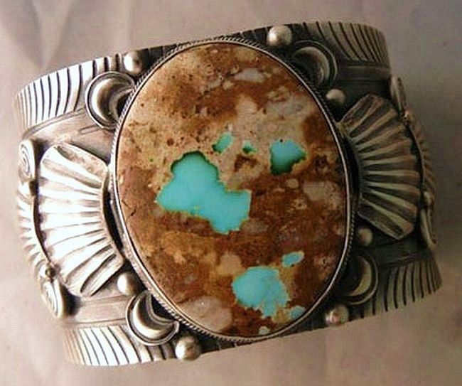 Native American Navajo Sterling Silver ROYSTON TURQUOISE BRACELET Mens Womens s7