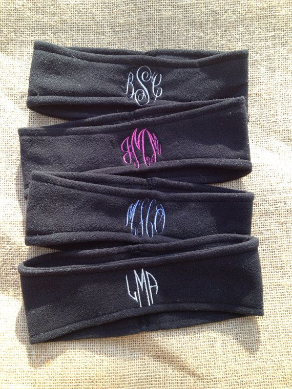 Monogrammed Fleece Headbands for a ski trip!